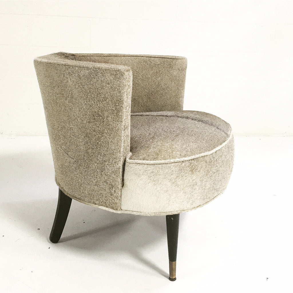 Vintage Barrel Chair in Brazilian Cowhide - FORSYTH