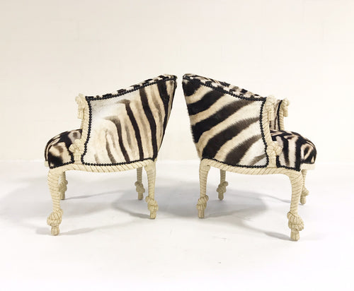 Vintage Napoleon III Style Twisted Rope and Tassel Carved Armchairs Restored in Zebra - Pair - FORSYTH