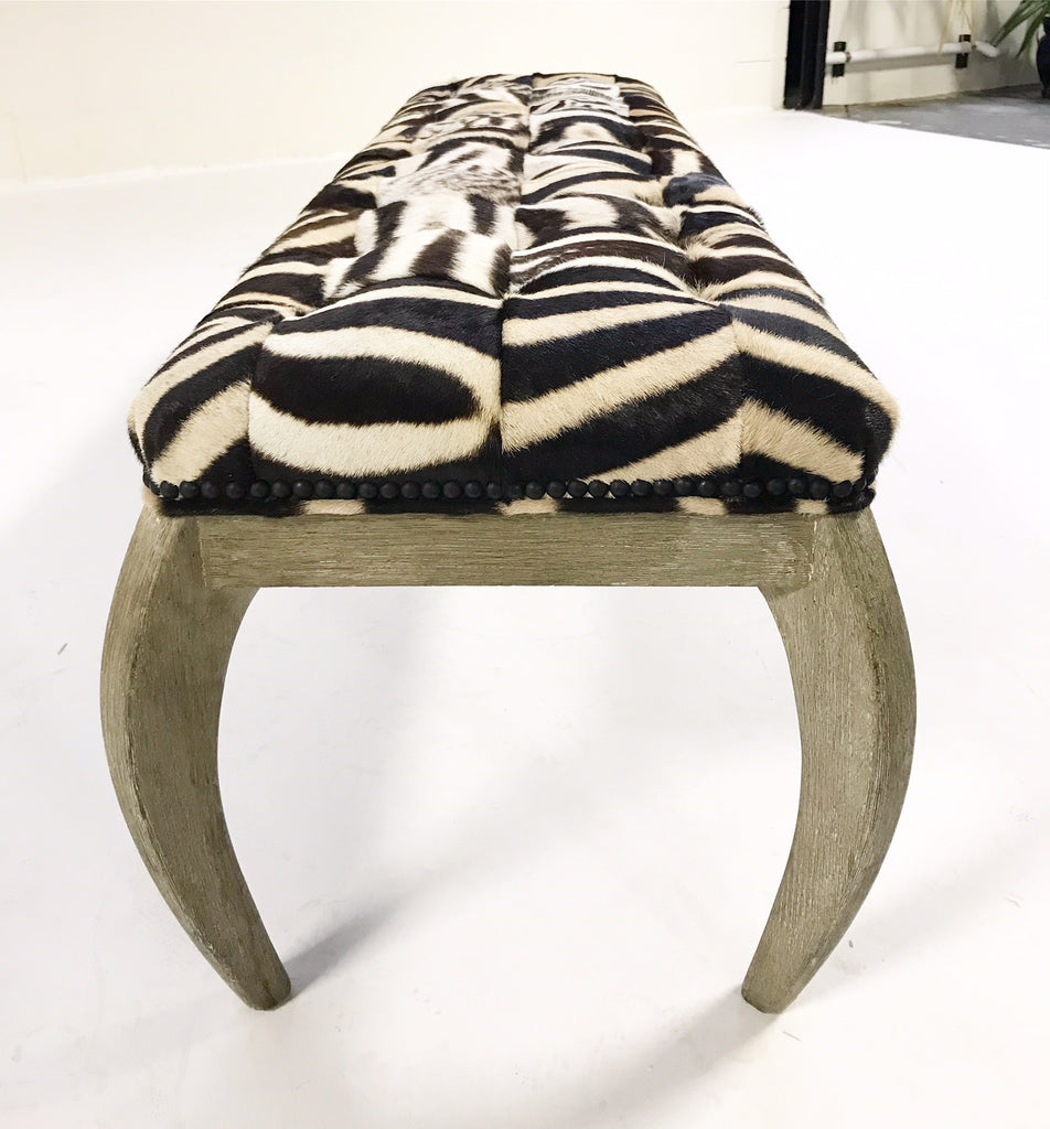 Kelly Wearstler for Vicery Miami Bench Restored in Patchwork Zebra Hide - FORSYTH