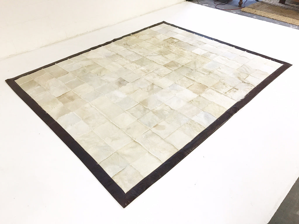 One of a Kind Patchwork Ivory Cowhide Area Rug - FORSYTH
