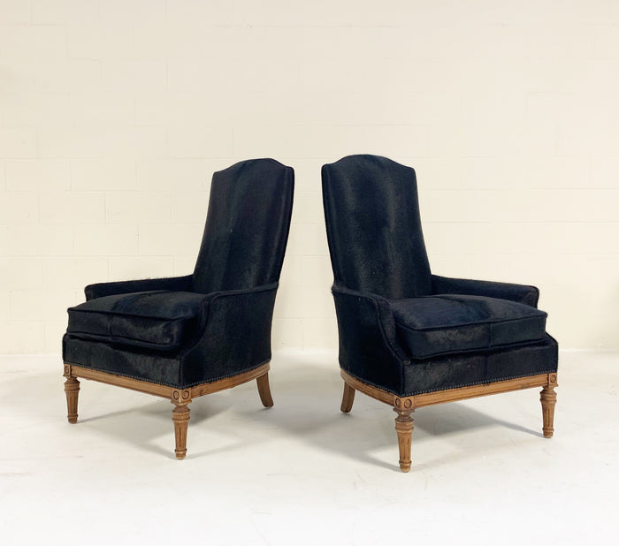 Traditional High Back Armchairs Restored in Brazilian Cowhide - Pair