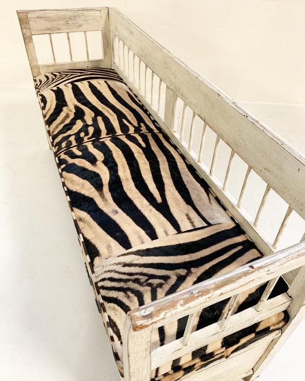 Antique Painted Swedish Bench with Zebra Hide Cushion - FORSYTH