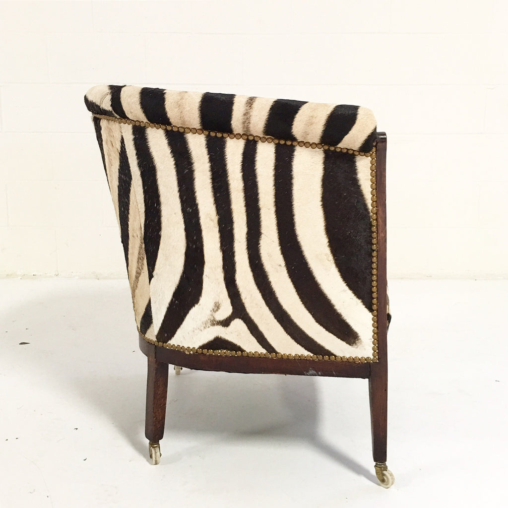 Vintage 1930s Barrel Chair in Zebra Hide - FORSYTH