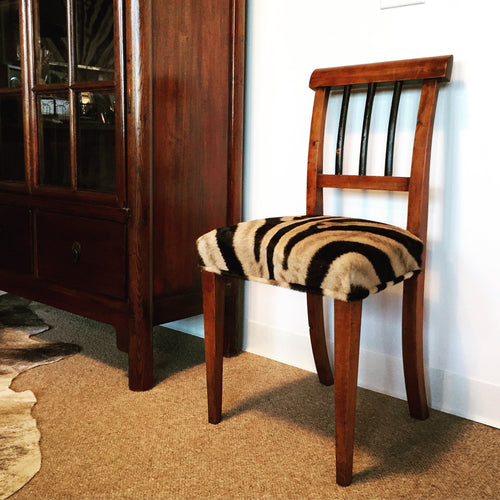 Biedermeier Side Chair in Zebra Hide - FORSYTH
