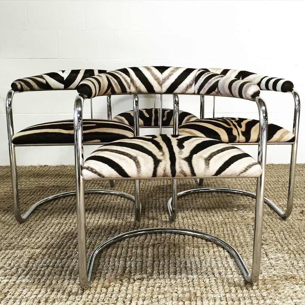 Anton Lorenz for Thonet Chrome Chairs in Zebra Hide - Set of Four - FORSYTH
