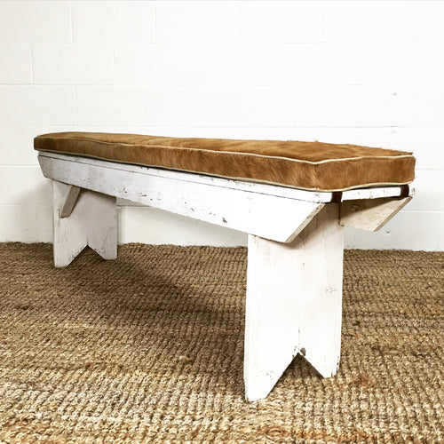 Farmhouse Bench with Cowhide Cushion - FORSYTH