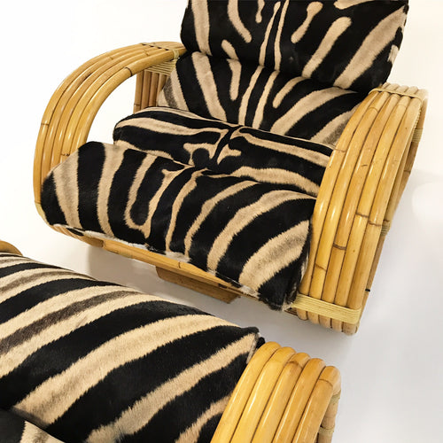 Five-Strand Rattan Lounge Chair & Ottoman with Zebra Hide Cushions - FORSYTH