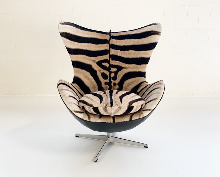 Arne Jacobsen for Fritz Hansen Egg Chair Restored in Zebra Hide and Loro Piana Leather - FORSYTH