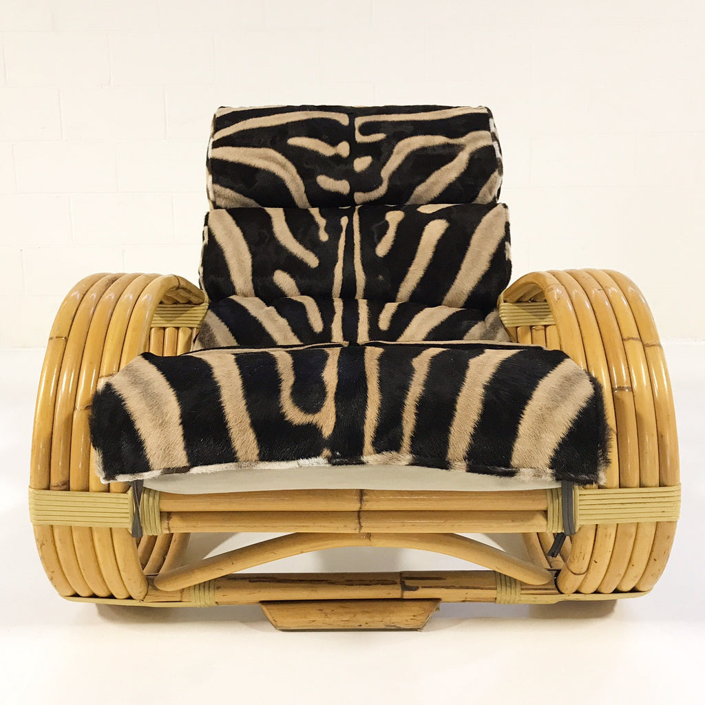 Vintage Five-Strand Rattan Lounge Chair & Ottoman with Zebra Hide Cushions