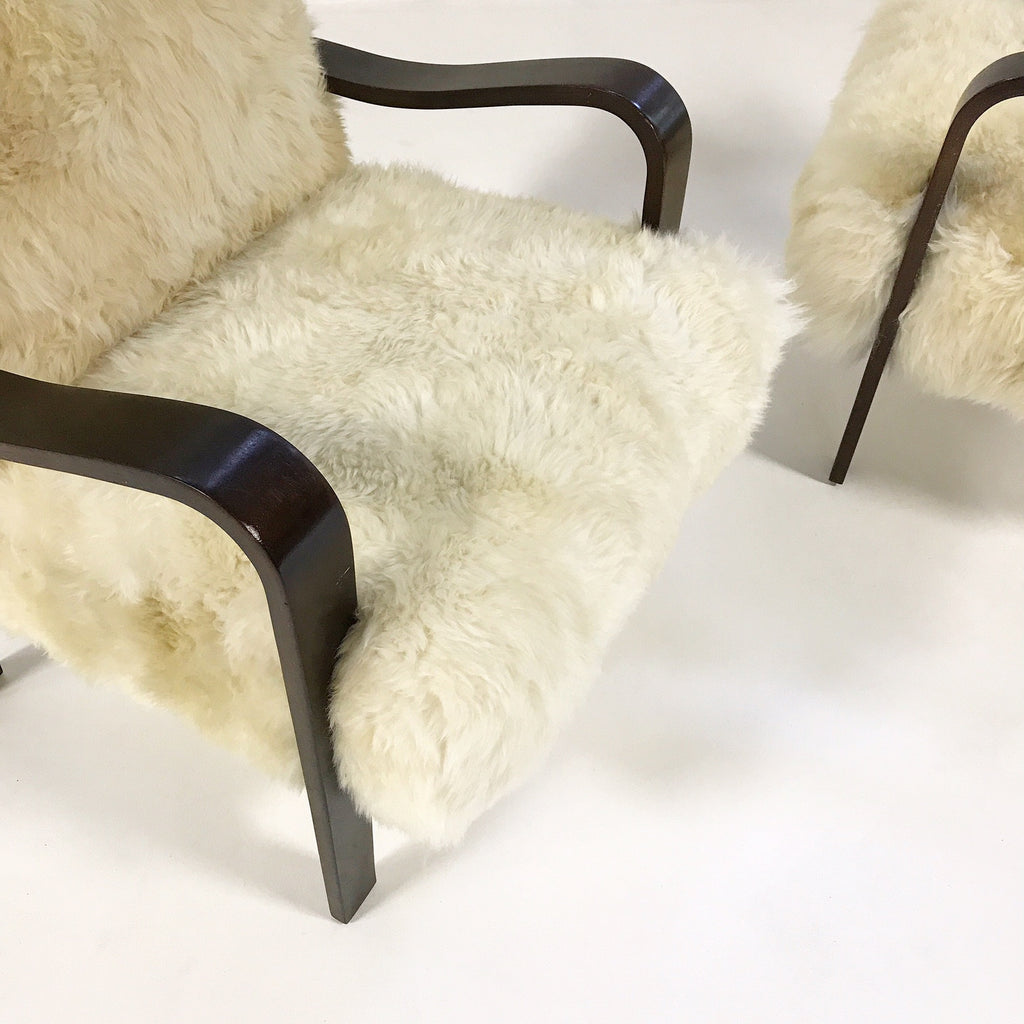 THONET ARMCHAIRS RESTORED IN BRAZILIAN SHEEPSKIN - PAIR