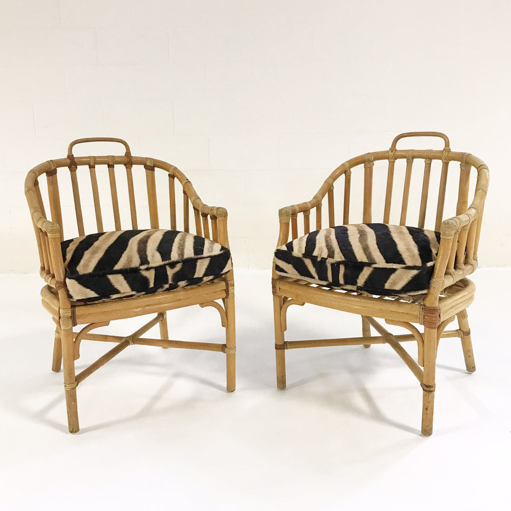 Pair of Rattan Armchairs with Custom Zebra Hide Cushions