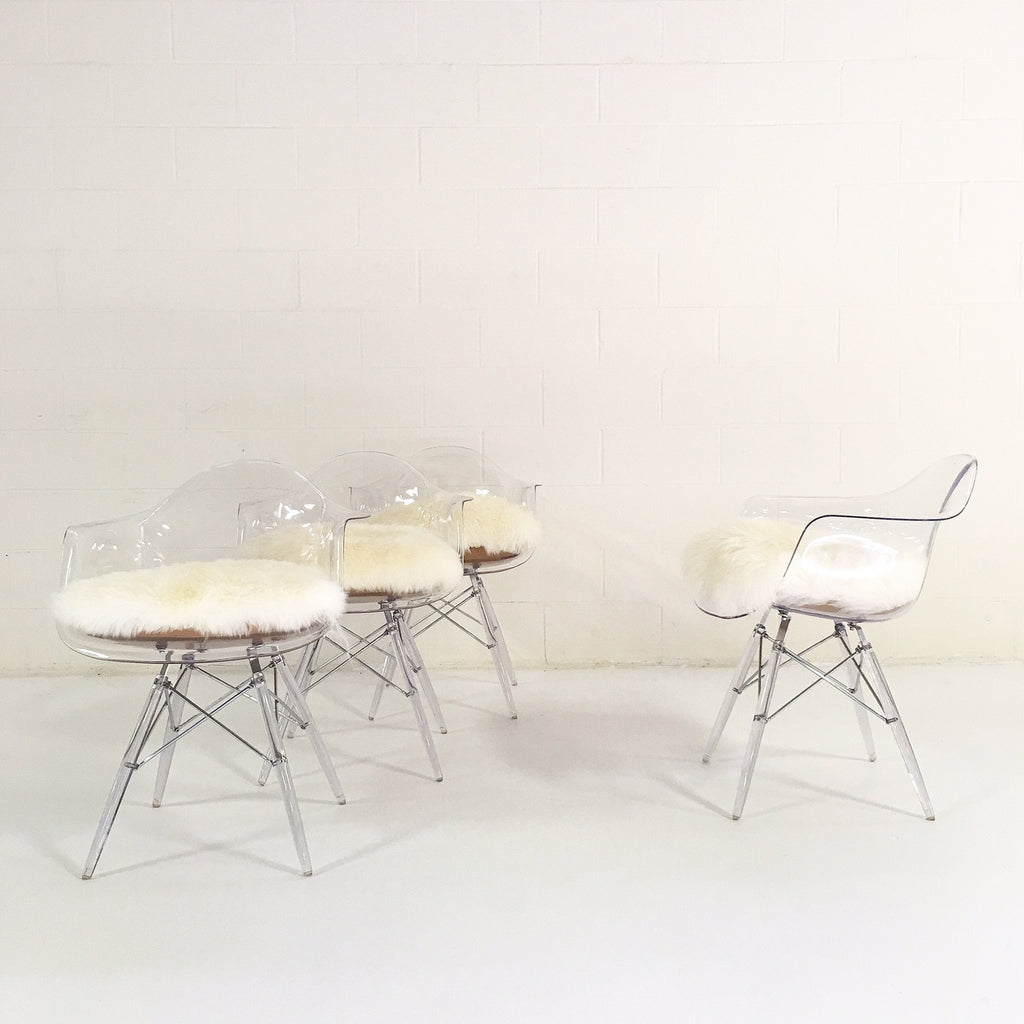 Mid-Century Style Lucite Dining Chairs with Custom Sheepskin Cushion - Set of 4 - FORSYTH