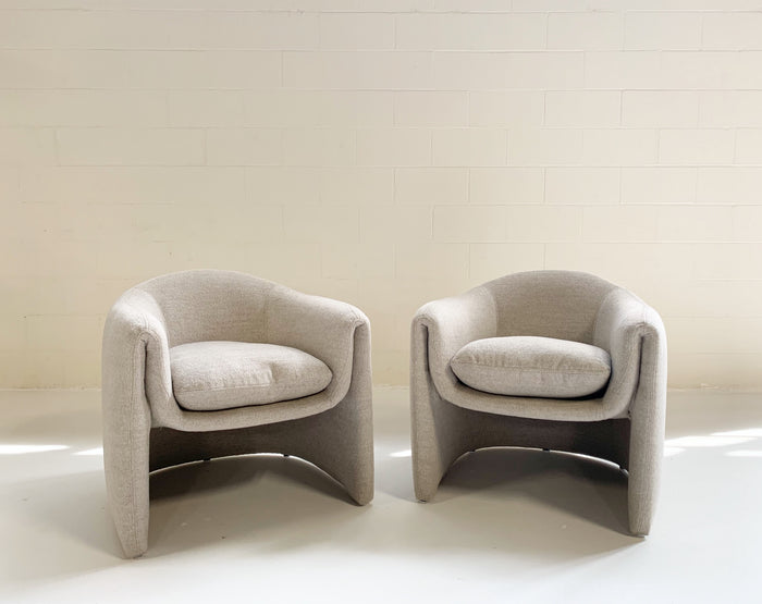 Preview Modernist Lounge Chairs Restored in Loro Piana Alpaca Wool Fabric - Pair