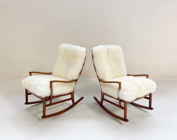 Parker Knoll Rocking Chairs with New Zealand Sheepskin Cushions - Pair