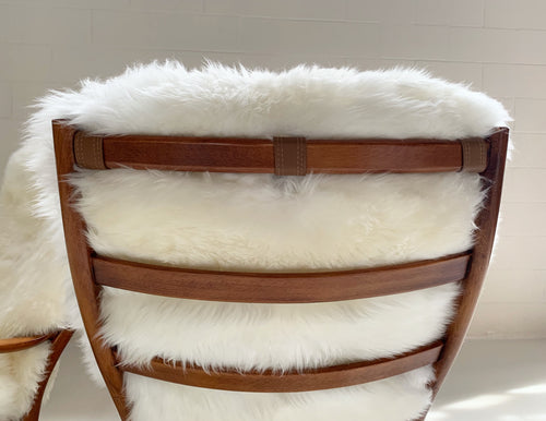 Rocking Chairs with Sheepskin Cushions, pair - FORSYTH