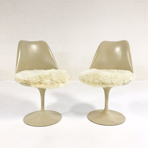 Tulip Chairs with Brazilian Sheepskin Cushions, set of 6 - FORSYTH
