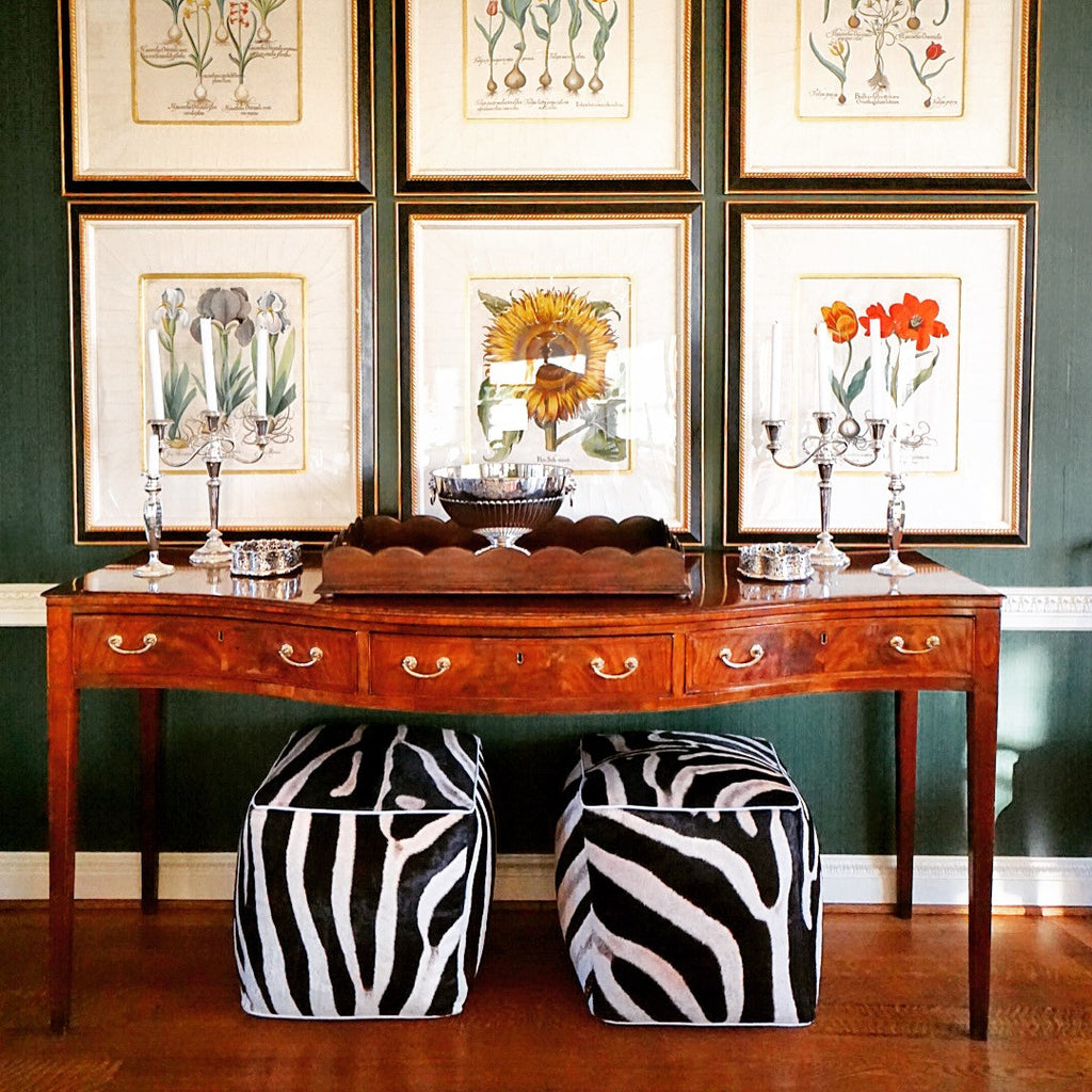 "Pair of Zebra Hide Cube Ottomans 20"" - FORSYTH"