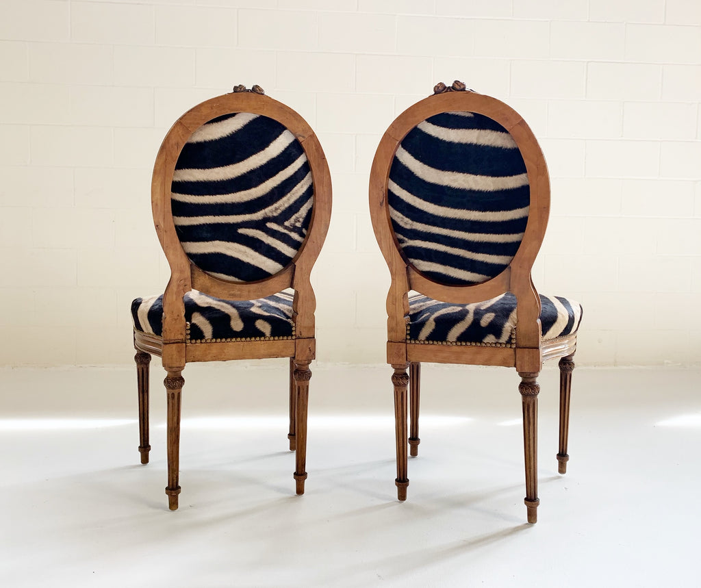 Louis XVI Style Side Chairs Restored in Zebra Hide - Pair - FORSYTH