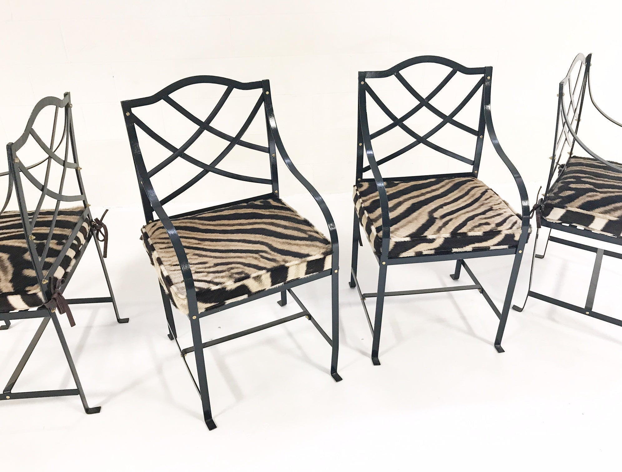 Iron Garden Chairs Painted Farrow & Ball Blue Black with Custom Zebra Hide  Cushions, set of 4