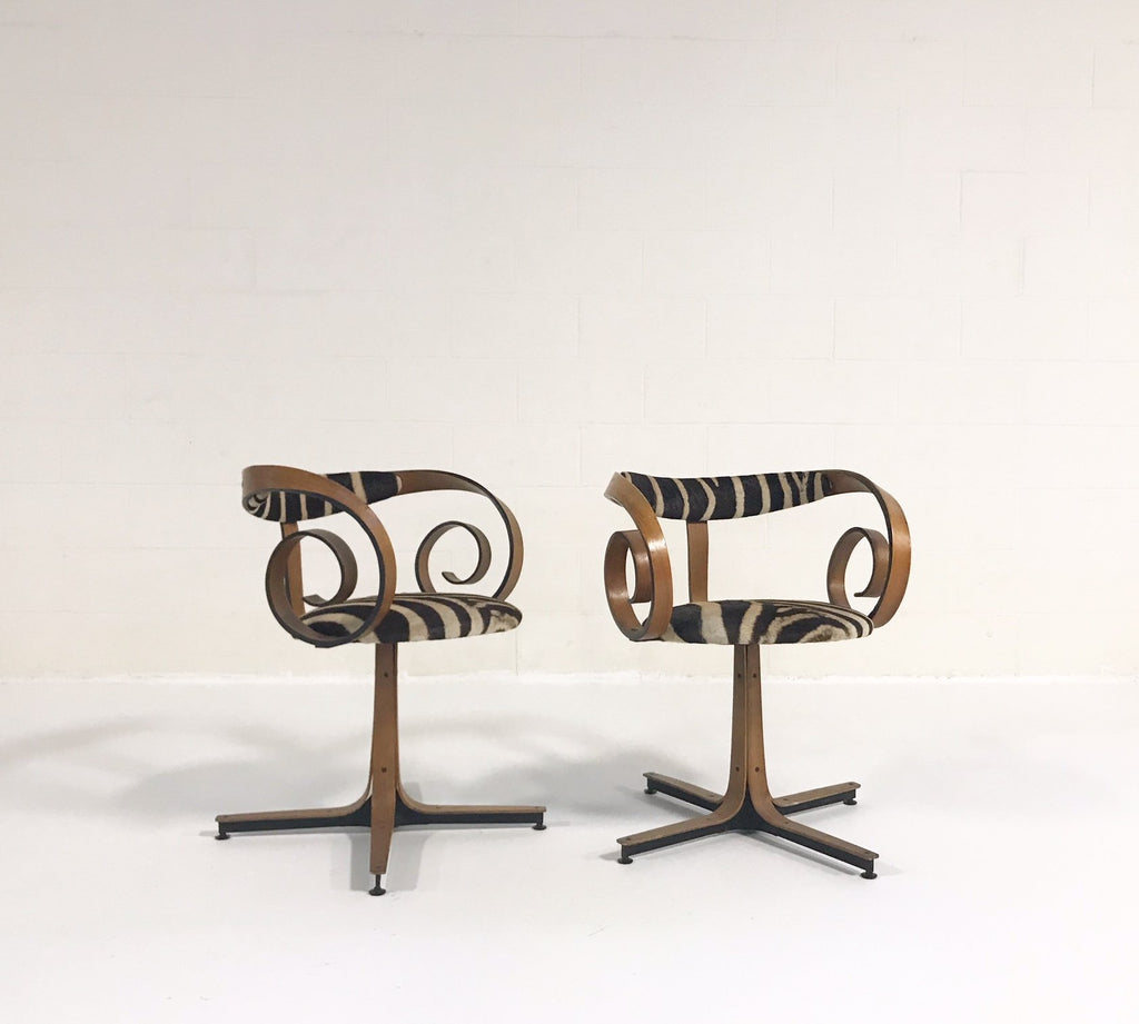 C. 1965 George Mulhauser for Plycraft Sultana Chairs Restored in Zebra Hide - Pair - FORSYTH