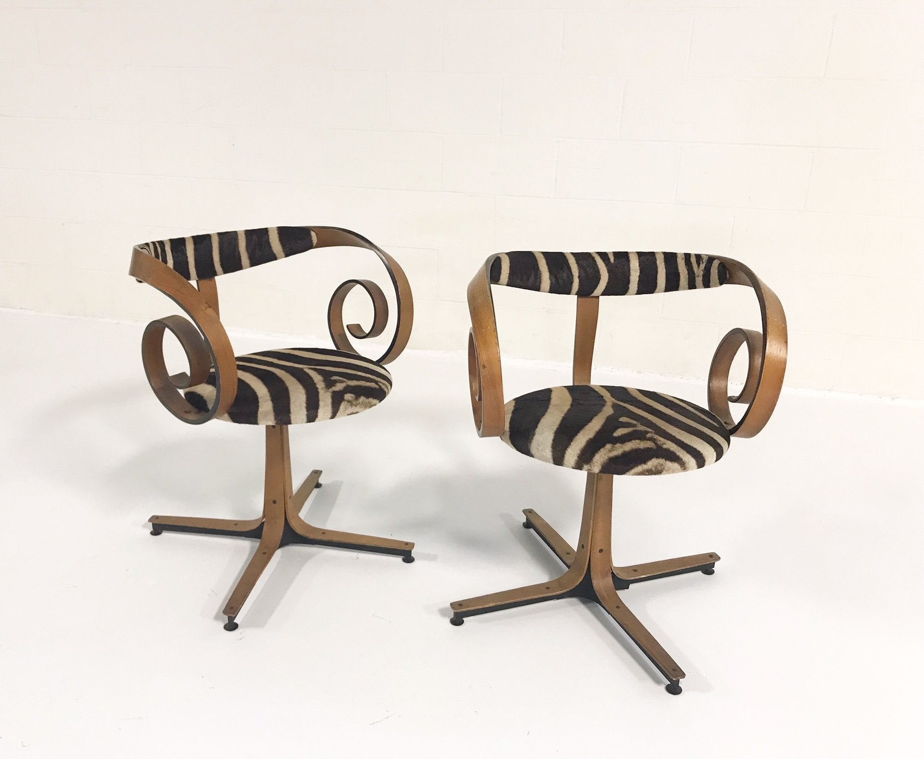 Sultana Chairs in Zebra Hide, pair - FORSYTH