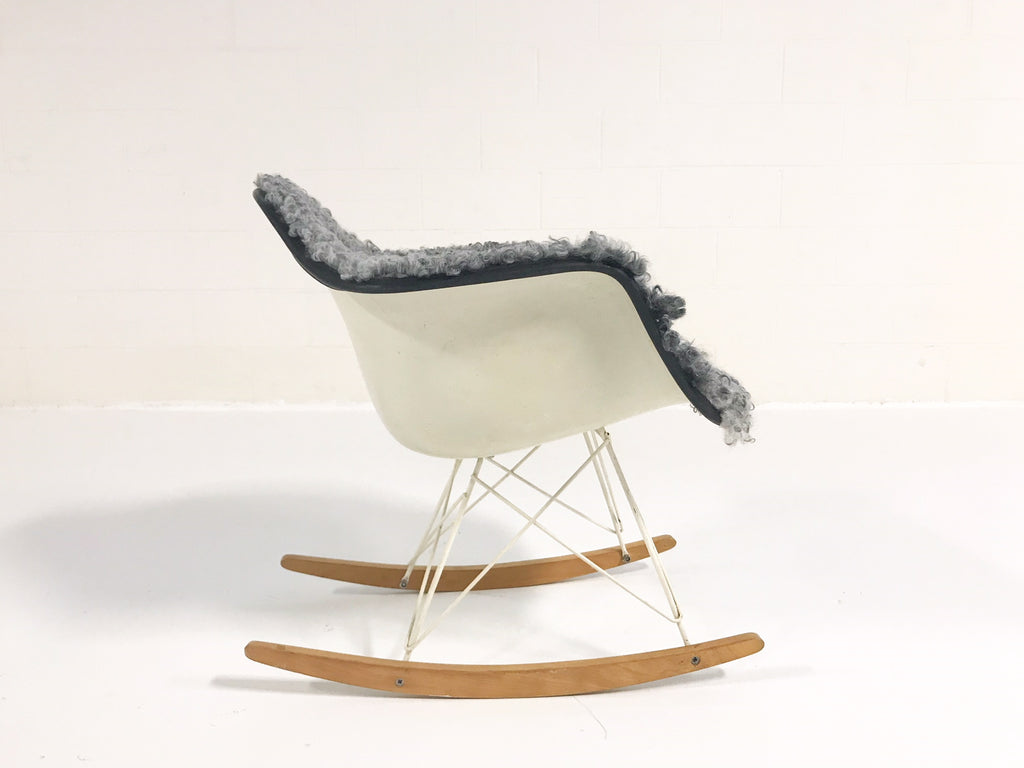 Vintage Charles and Ray Eames for Herman Miller RAR Rocking Chair Restored in Gotland Sheepskin - FORSYTH