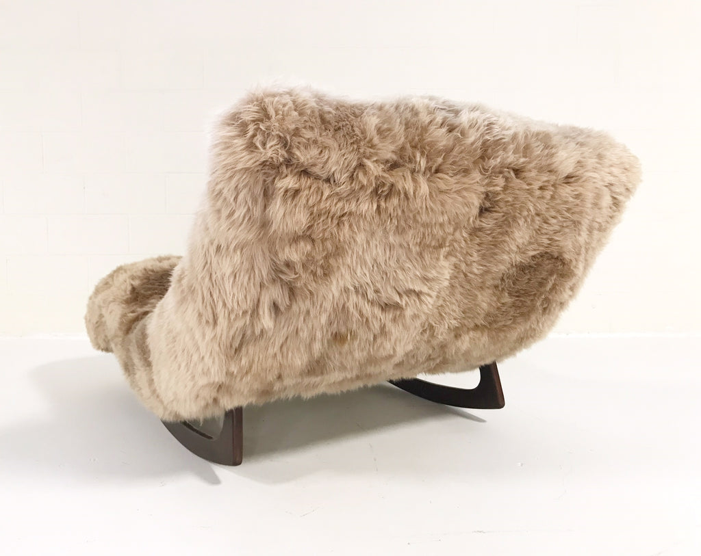 Vintage Adrian Pearsall Wave Chaise Rocker Chair Restored in New Zealand Sheepskin - FORSYTH