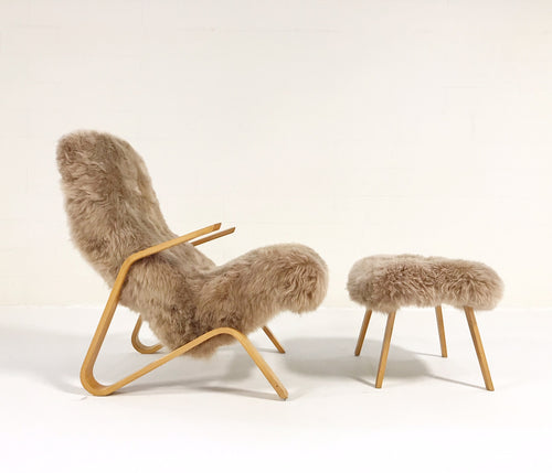 Grasshopper Chair and Ottoman in New Zealand Sheepskin - FORSYTH