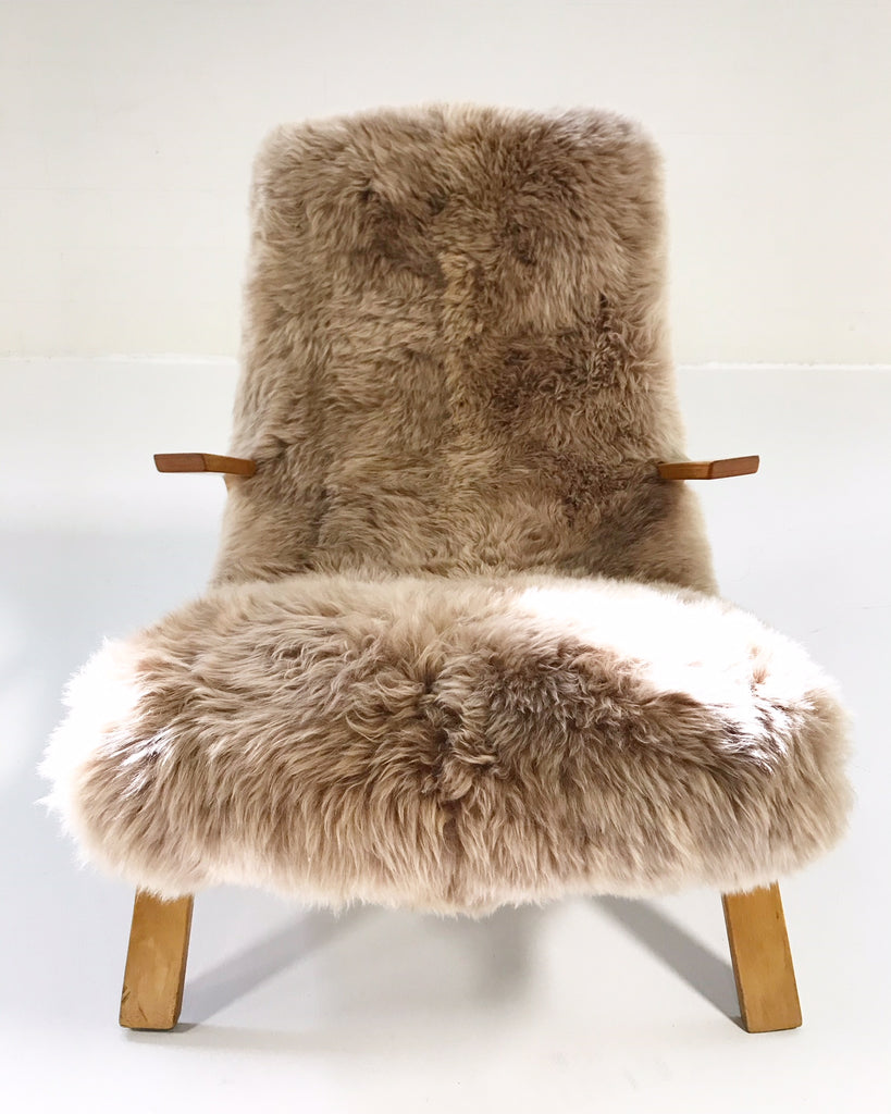 Eero Saarinen for Knoll Grasshopper Chair and Ottoman Restored in New Zealand Sheepskin - FORSYTH