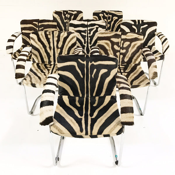 Lens Dining Chairs in Zebra Hide, set of 8 - FORSYTH