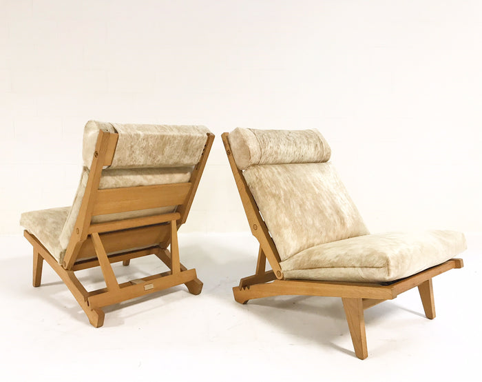 C. 1969 Hans Wegner for AP Stolen AP71 Lounge Chairs Restored in Brazilian Cowhide - Pair - FORSYTH