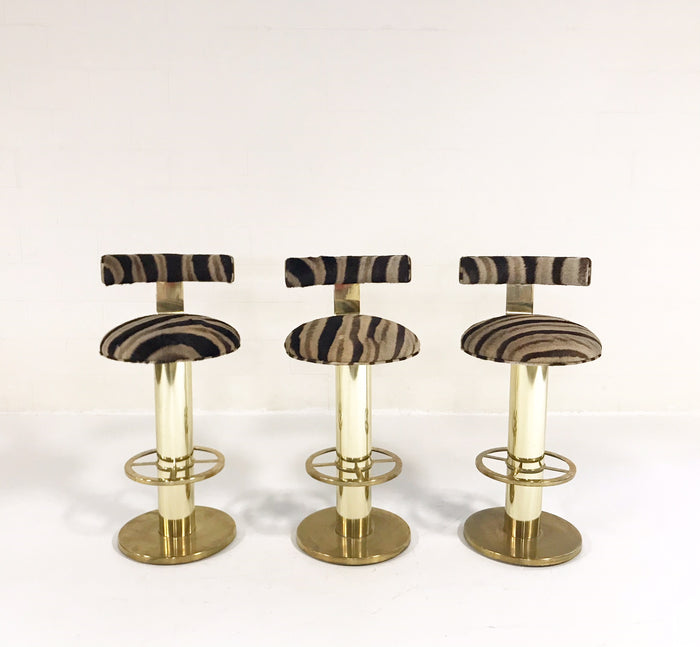Design for Leisure Brass Bar Stool Chairs Restored in Zebra Hide - Set of 3 - FORSYTH