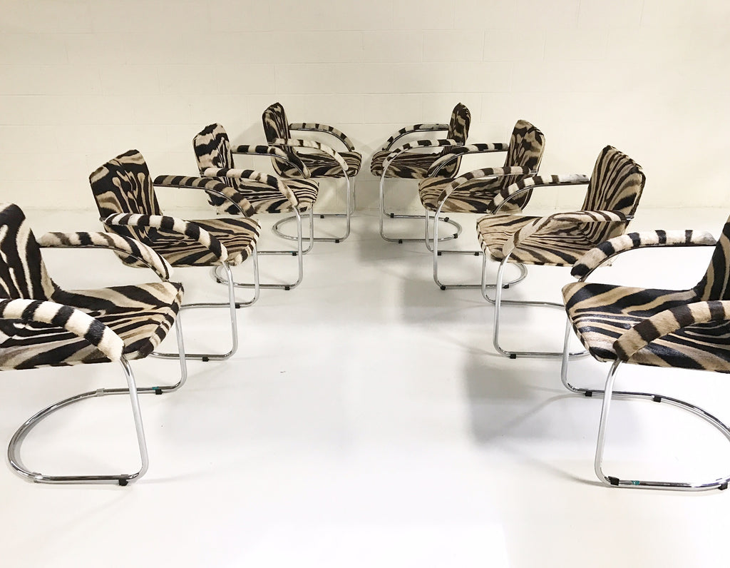 Set of 8 Giovanni Offredi for Saporiti Italia Lens Dining Chairs in Zebra Hide - FORSYTH