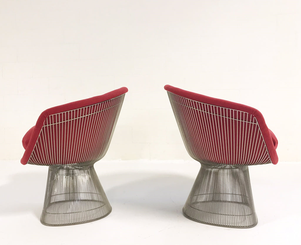 Warren Platner for Knoll Lounge Chairs Restored in Loro Piana Red Cashmere - Pair - FORSYTH