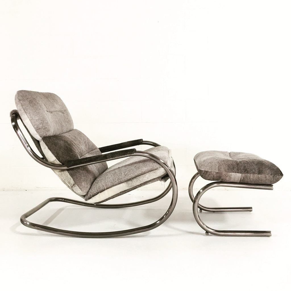 Design Institute of America Rocker Lounge Chair & Ottoman in Brazilian Cowhide - FORSYTH