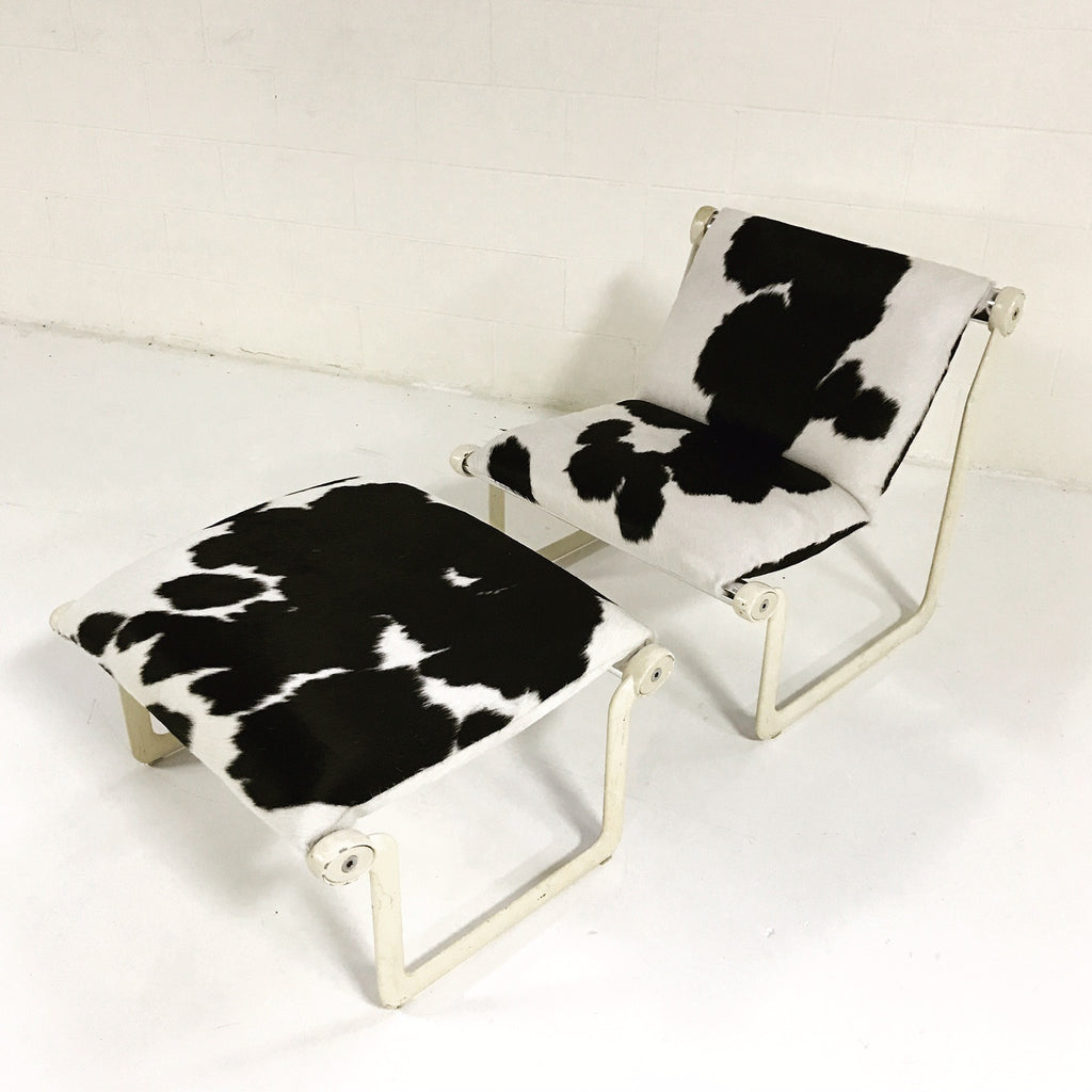 Morrison & Hannah for Knoll Chair & Ottoman in Black & White Brazilian Cowhide - FORSYTH