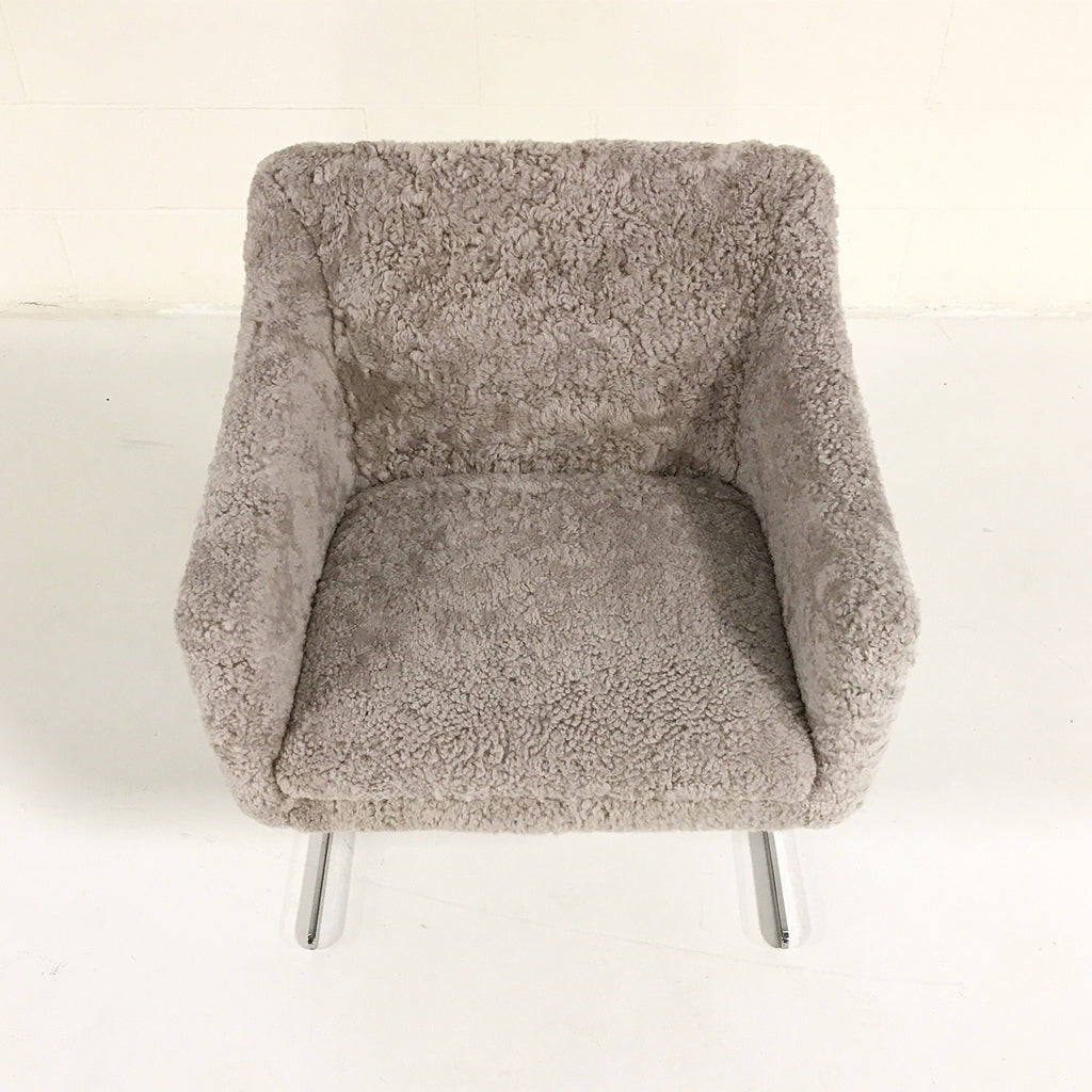 Hugh Acton Armchair with Metal Base in Short Grey Sheepskin - FORSYTH