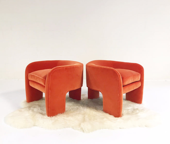 Vladimir Kagan Sculptural Armchairs Restored in Loro Piana Orange Velvet with Sheepskin Rug - FORSYTH