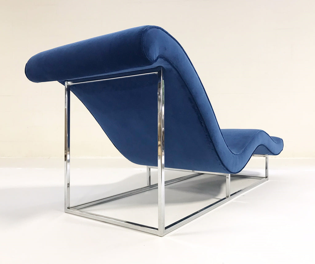 c. 1970 Milo Baughman Chaise Lounge Chair Restored in Loro Piana Blue Velvet - FORSYTH