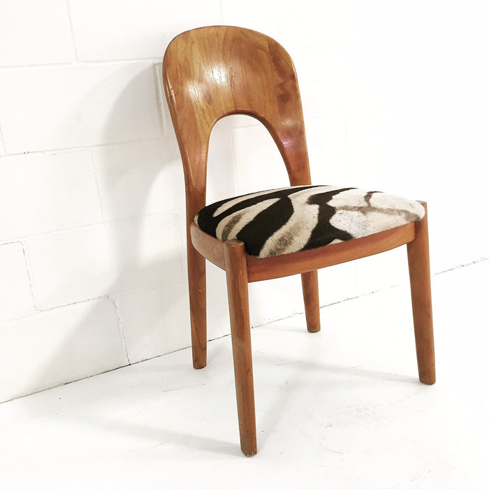 DANISH TEAK SIDE CHAIR in Zebra Hide - FORSYTH