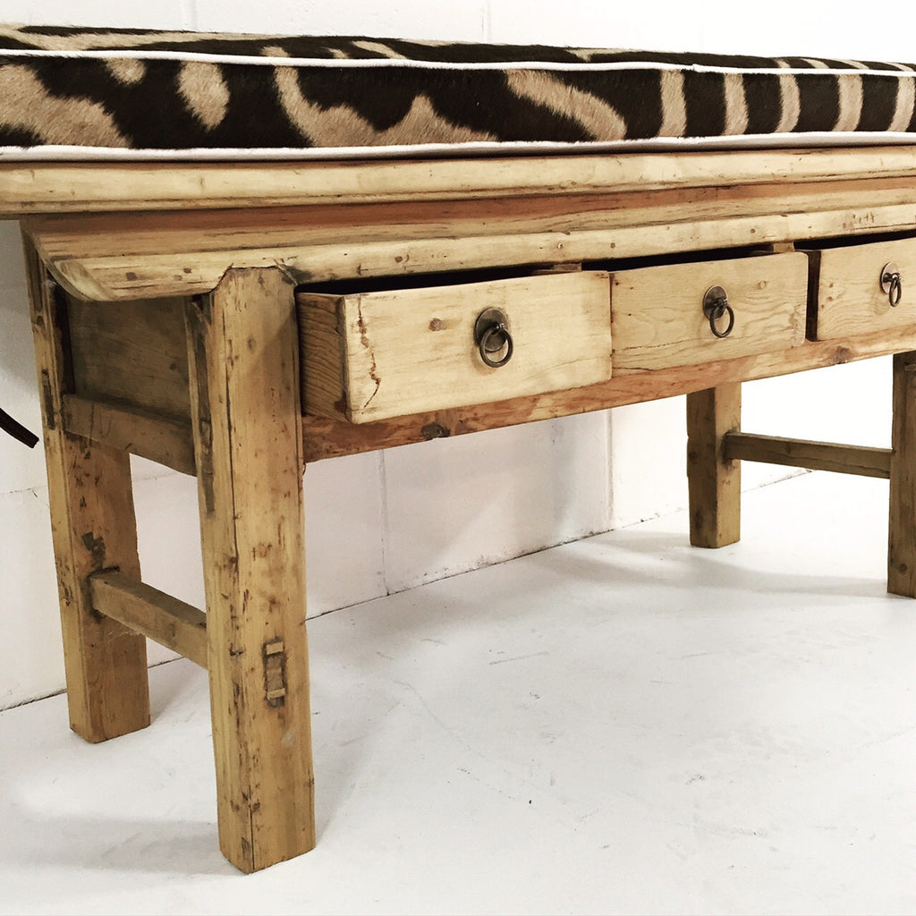 VINTAGE CHINESE 3-DRAWER RUSTIC BENCH - NO.15 - FORSYTH