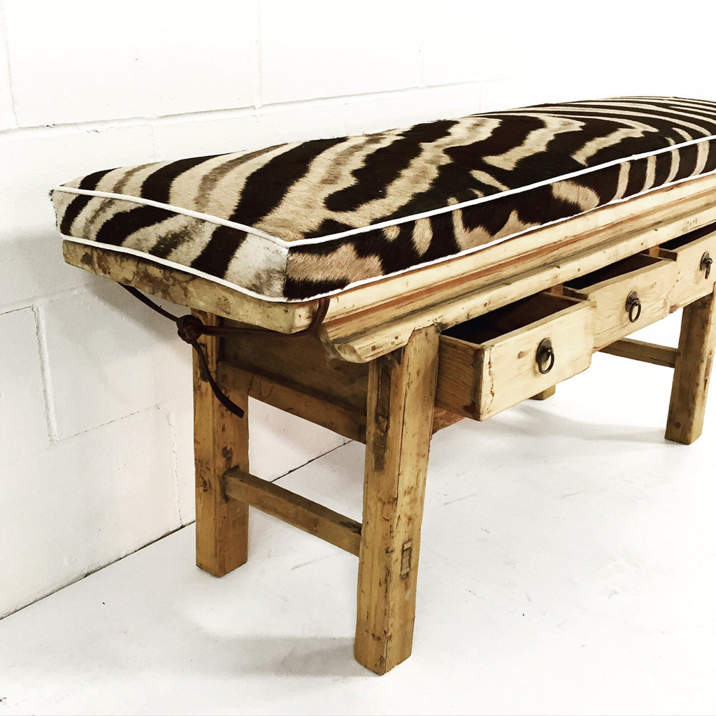 VINTAGE CHINESE 3-DRAWER RUSTIC BENCH WITH ZEBRA HIDE CUSHION - NO.15 - FORSYTH