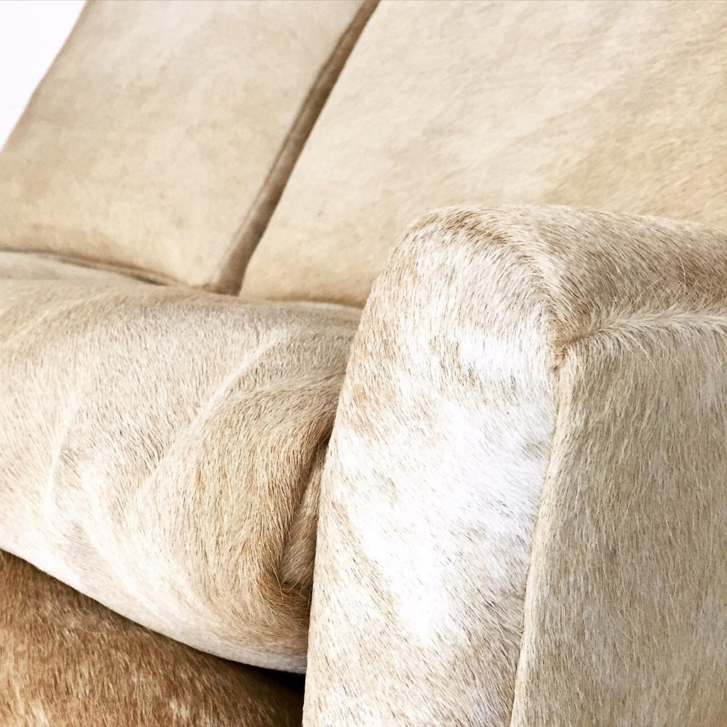 Danish Style Loveseat in Brazilian Cowhide - FORSYTH