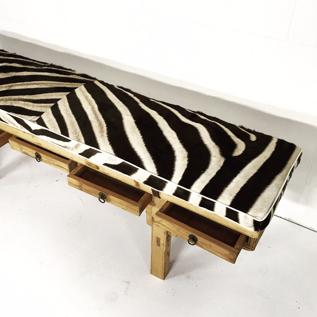 CALLIGRAPHER FIVE-DRAWER BENCH WITH custom Zebra Cushion - FORSYTH