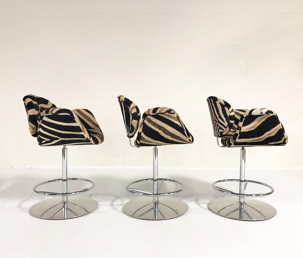 Vintage Pierre Paulin Tulip Counter Stool Chairs Restored in Zebra Hide - Set of 3 - FORSYTH