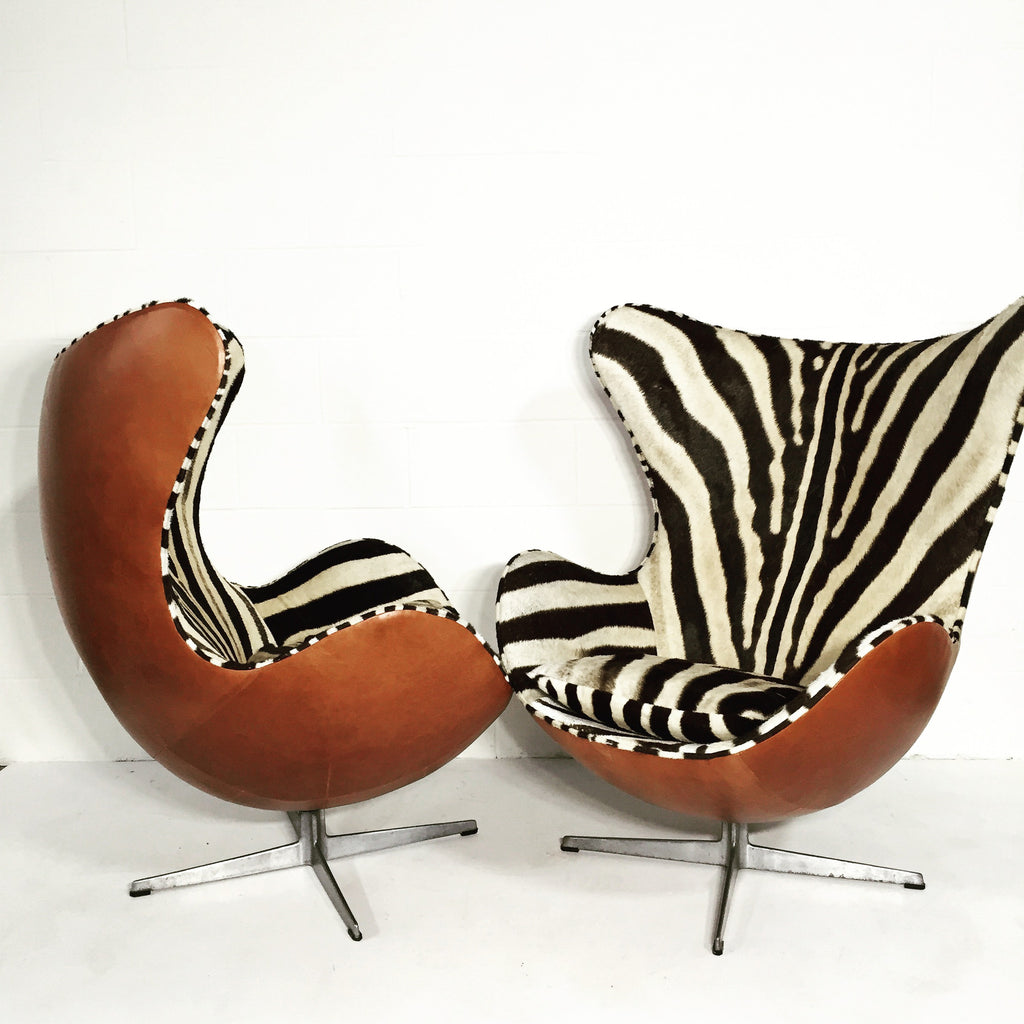 Arne jacobsen egg chair leather - Arne Jacobsen For Fritz Hansen Egg Chairs In Zebra Hide And Leather Forsyth