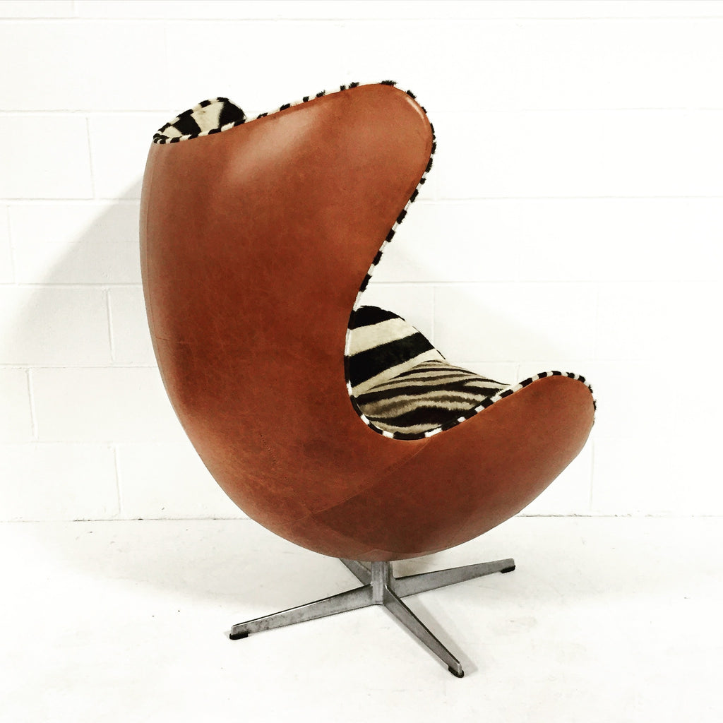 Arne Jacobsen For Fritz Hansen Egg Chairs In Zebra Hide And Leather    FORSYTH