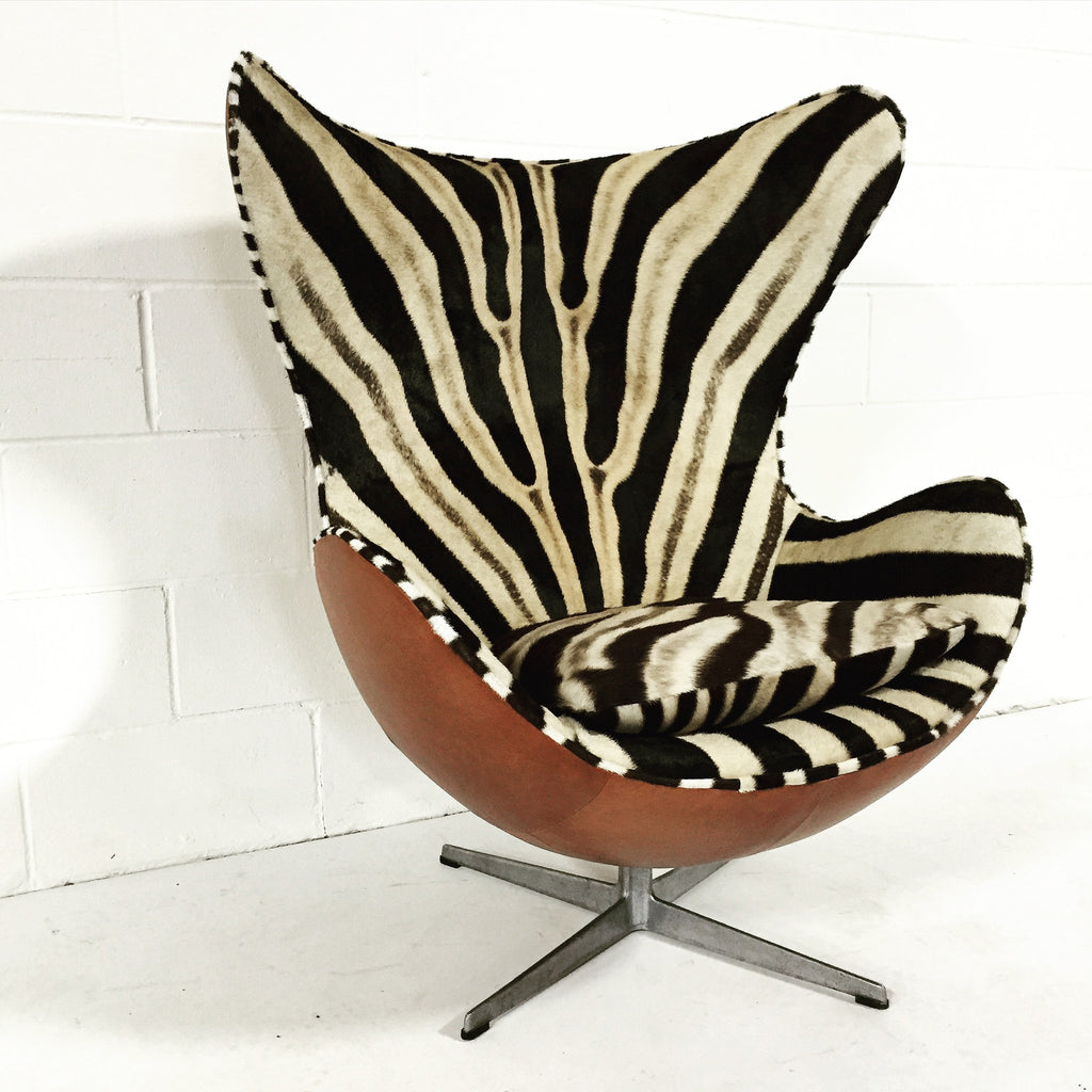Arne Jacobsen for Fritz Hansen Egg Chairs in Zebra Hide and Leather - FORSYTH