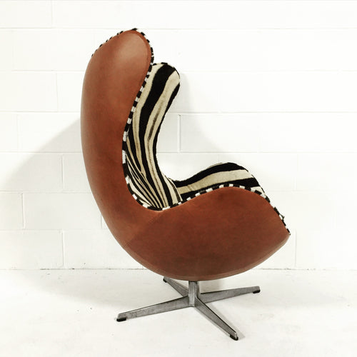Egg Chairs in Zebra Hide and Leather, pair - FORSYTH