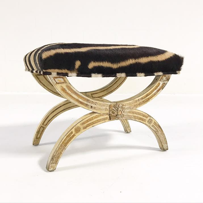 19th Century Italian Regency Stool Ottoman Bench Reupholstered in Zebra Hide - FORSYTH